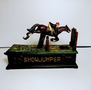 Vintage Metal Show Jumper Horse Mechanical Bank